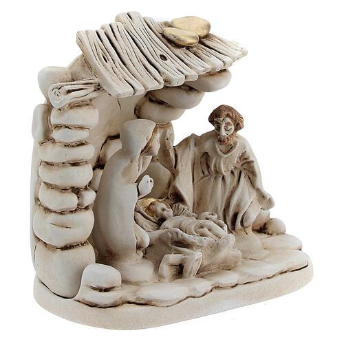Composición Natividad cabaña resina 10 cm 3