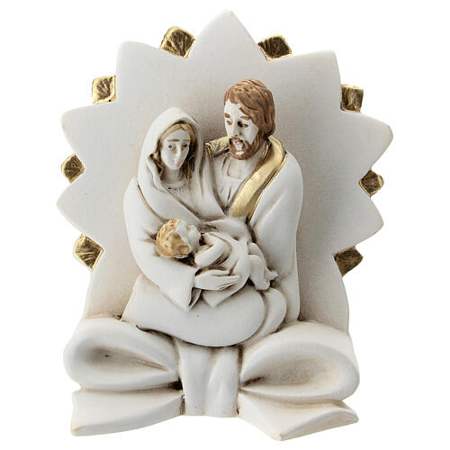Nativity with ribbon bow and star in resin 10 cm 1