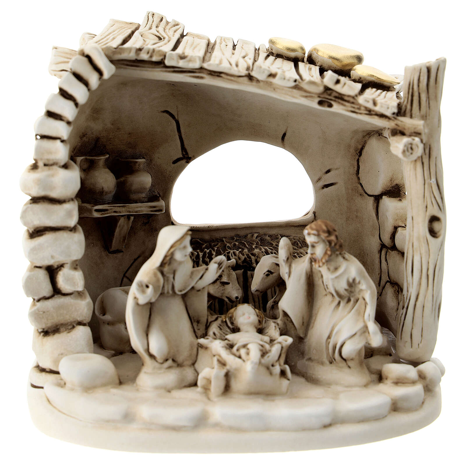 Nativity scene composition with 5 characters and shack in resin 10 cm 3