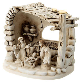 Nativity scene composition with 5 characters and shack in resin 10 cm s2