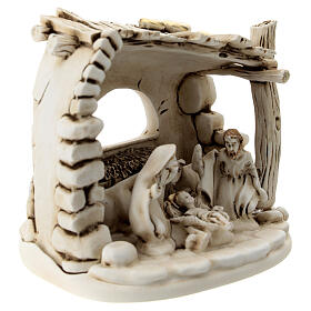Nativity scene composition with 5 characters and shack in resin 10 cm s3
