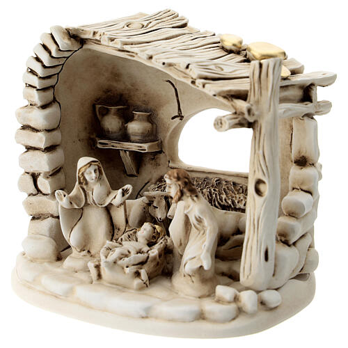 Nativity scene composition with 5 characters and shack in resin 10 cm 2