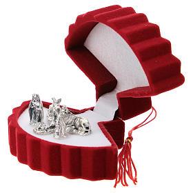 Coffret avec Nativité éventail velours rouge s2