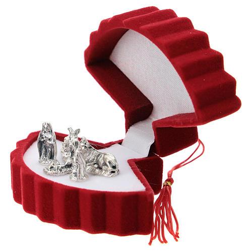 Coffret avec Nativité éventail velours rouge 2