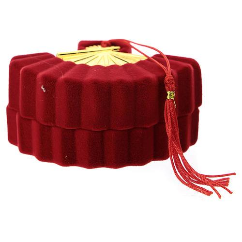 Coffret avec Nativité éventail velours rouge 3