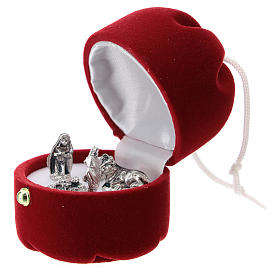 Cofre con natividad dulce navideño terciopelo rojo s2