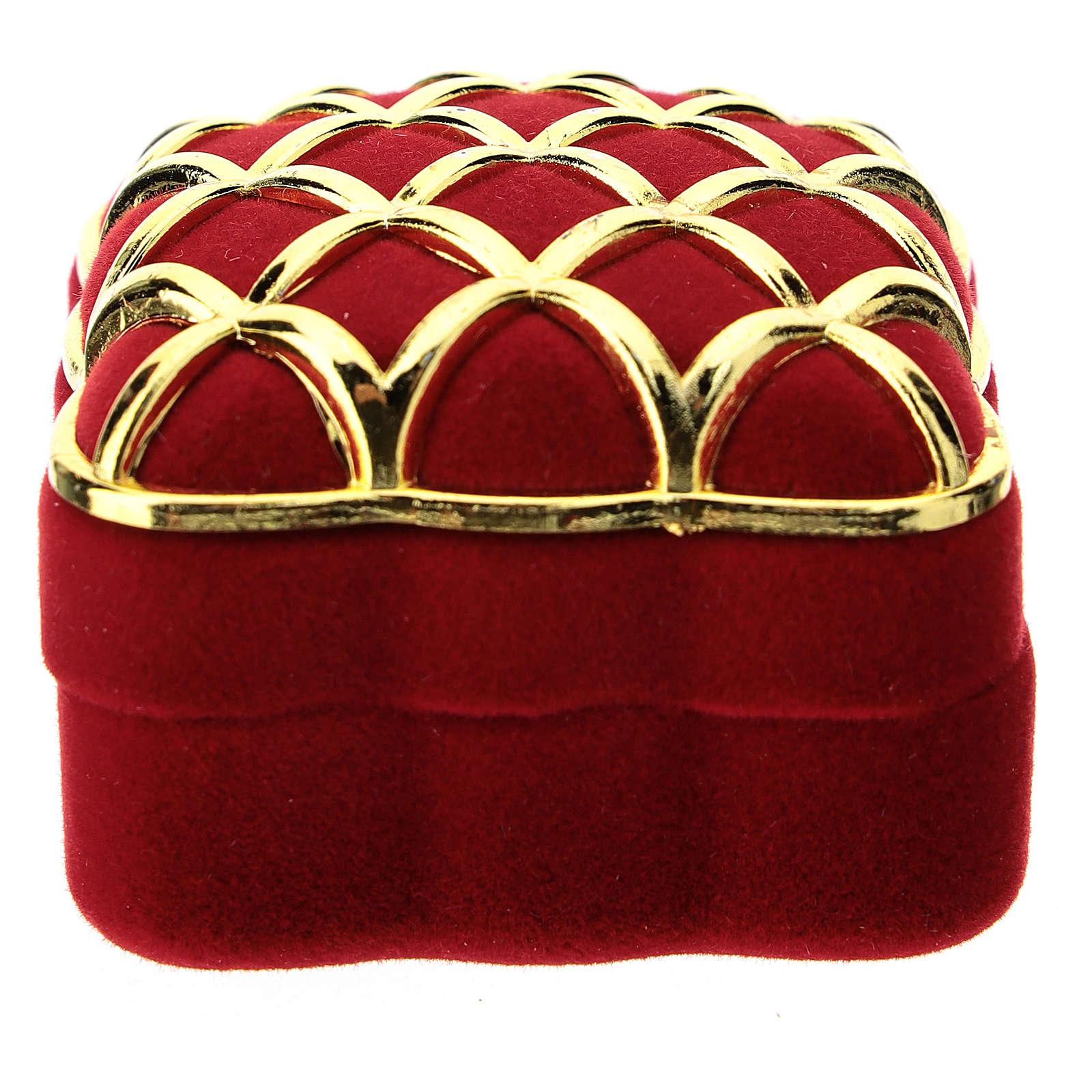 Cofre escriño cuadrado terciopelo rojo dorado natividad 3