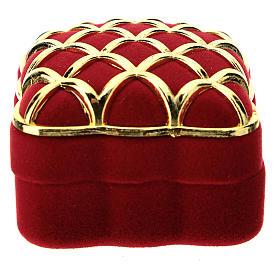 Cofre escriño cuadrado terciopelo rojo dorado natividad s3