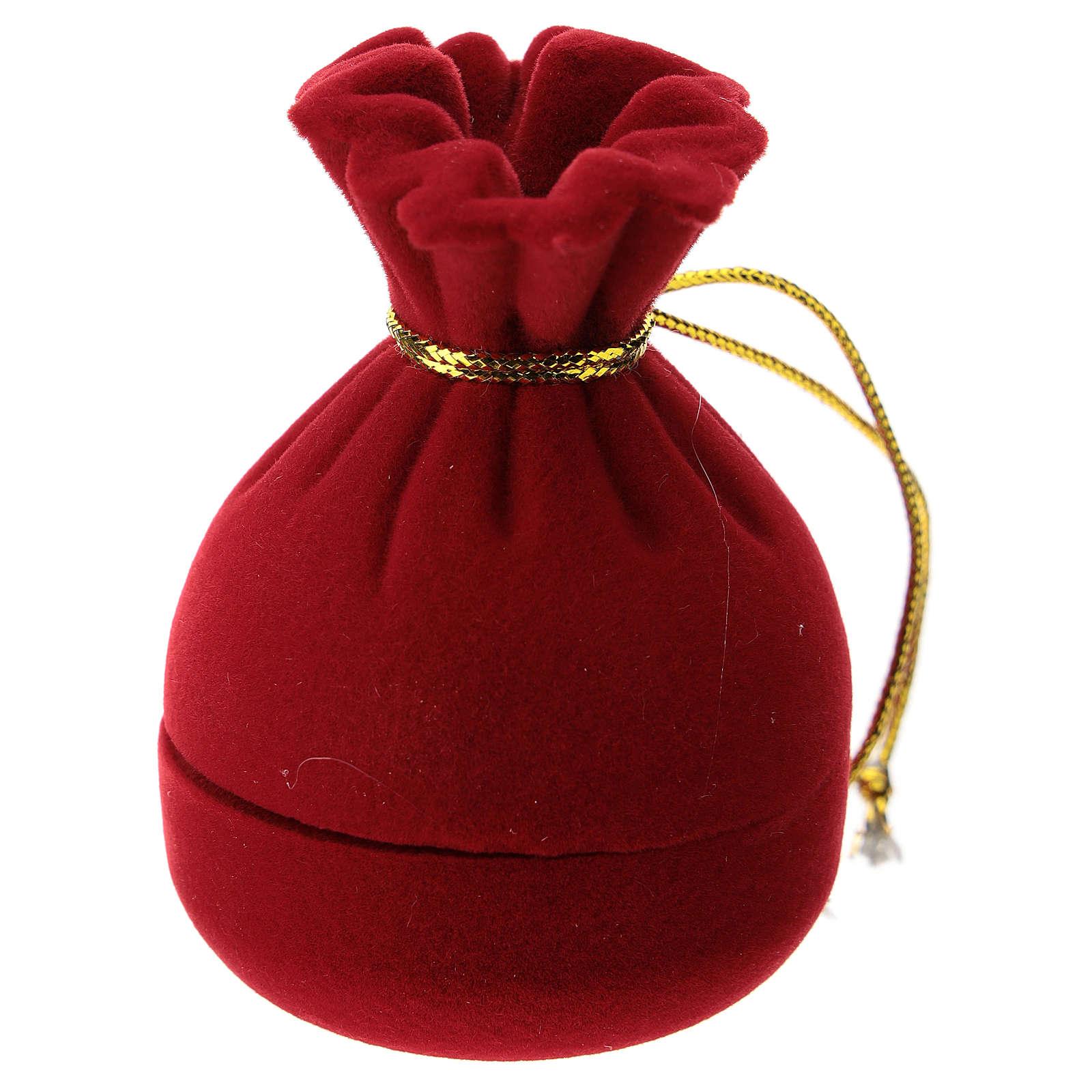 Sacchetto a cofanetto con natività velluto rosso 3