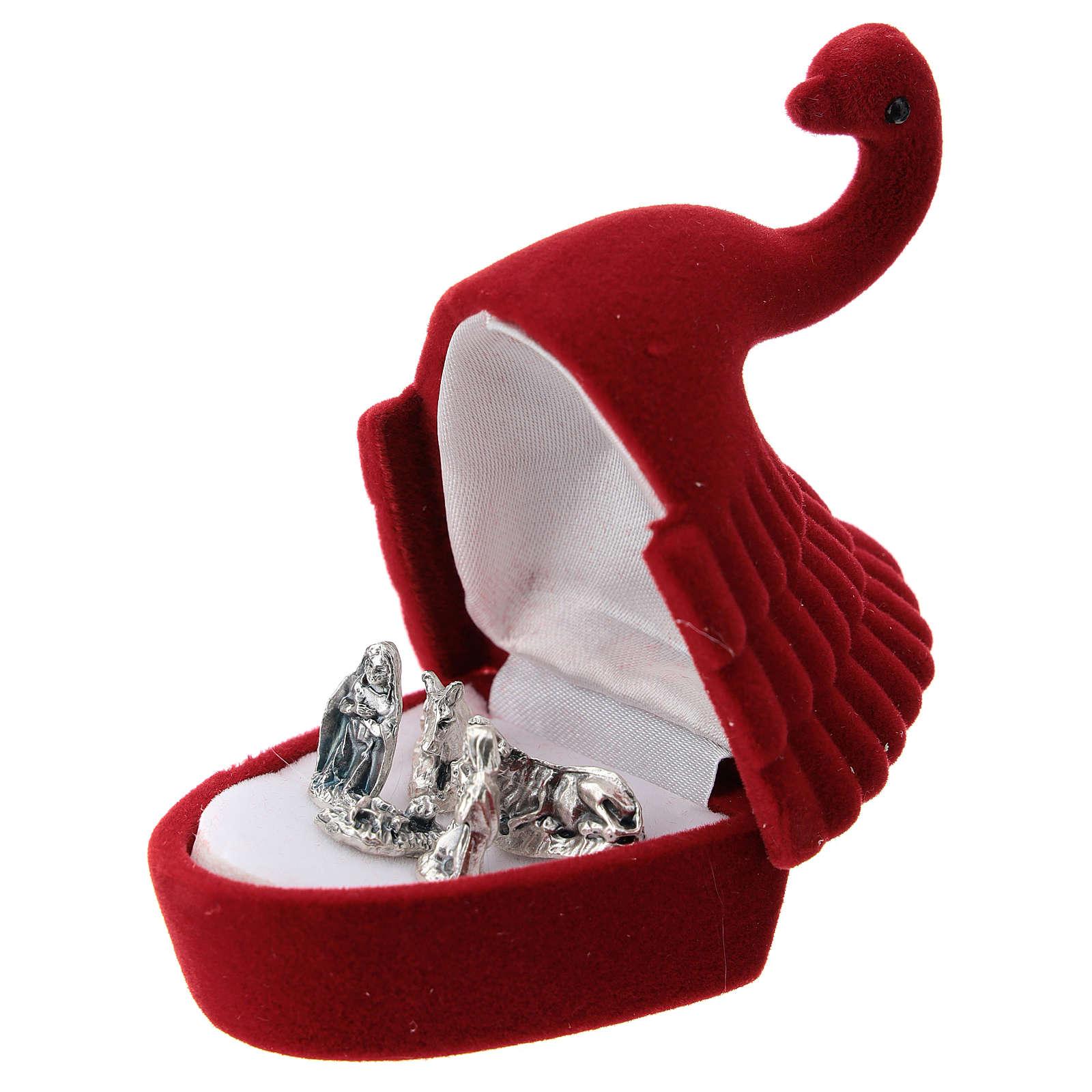 Coffret avec Nativité cygne velours rouge 3
