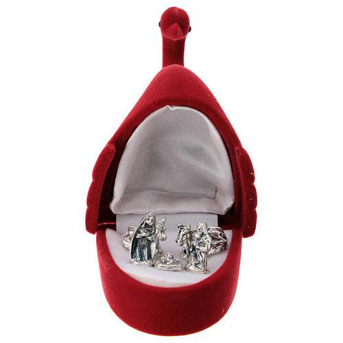 Coffret avec Nativité cygne velours rouge 1