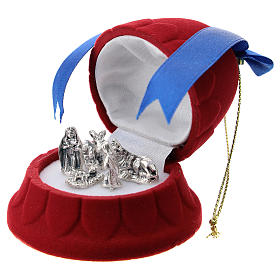 Cofre campana terciopelo rojo con natividad s2