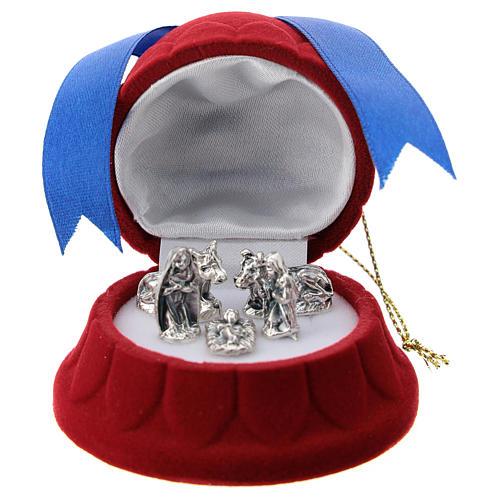 Cofre campana terciopelo rojo con natividad 1