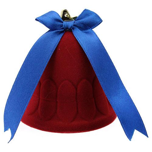 Cofre campana terciopelo rojo con natividad 3