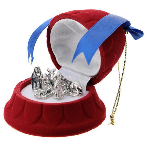 Cofanetto a campana velluto rosso con natività 2