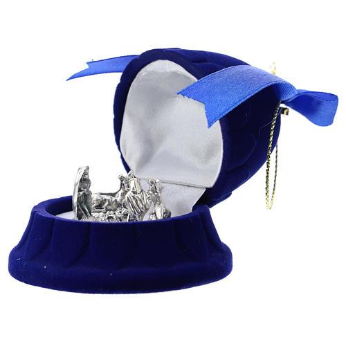 Cofanetto campana con natività velluto blu 2