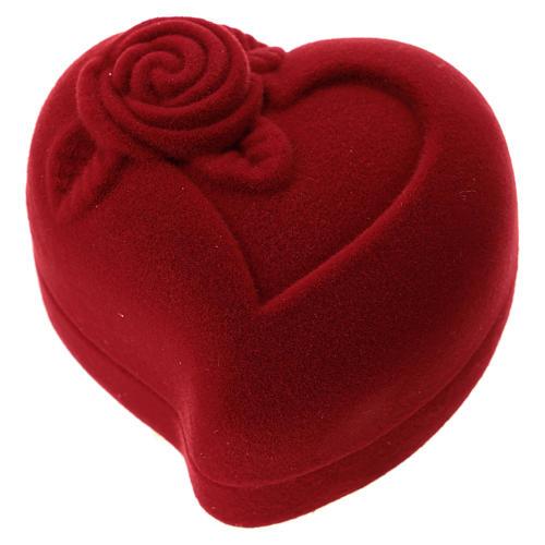 Coffret coeur avec rose velours rouge nativité 3