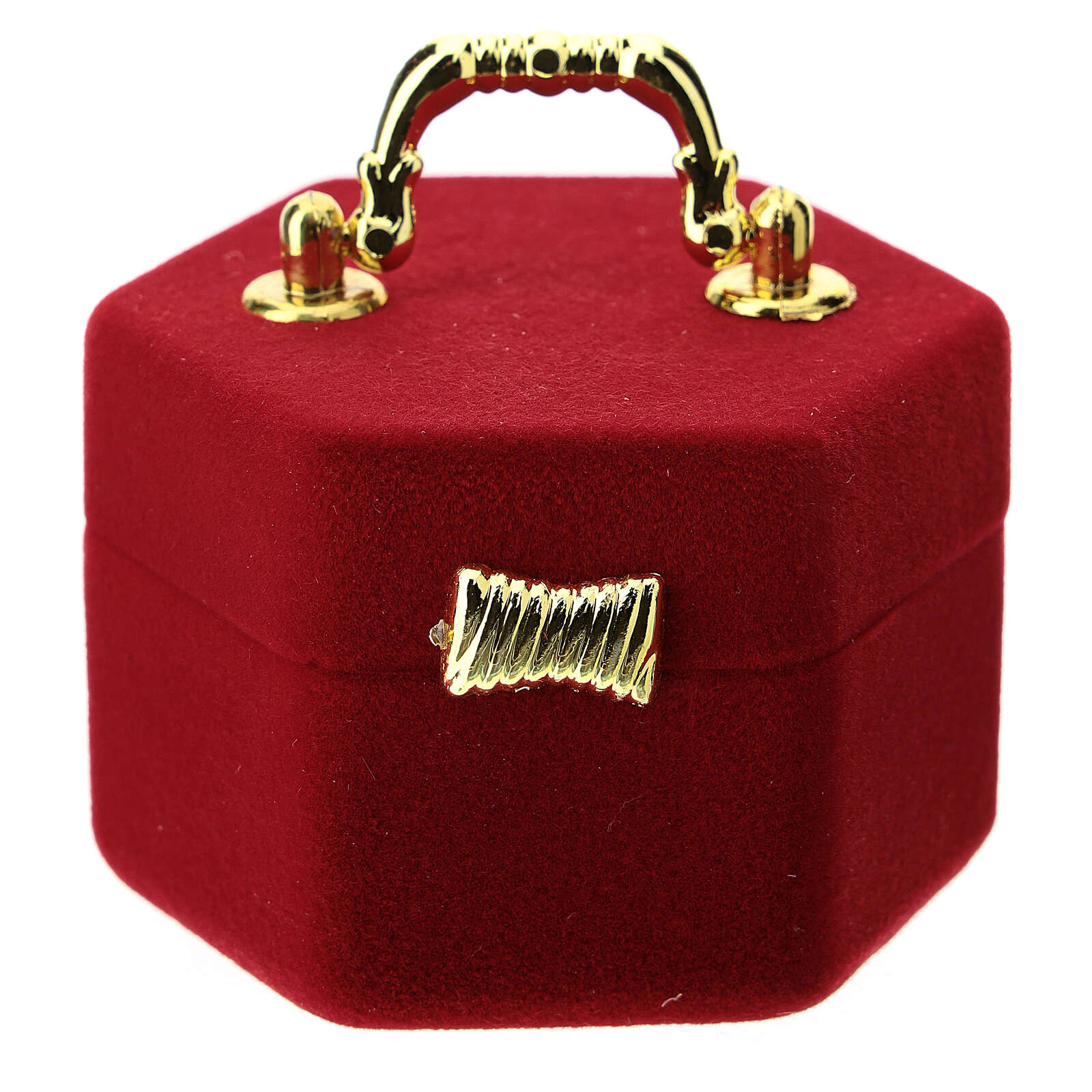 Hexagonal box with handle and Nativity in red velvet inside 3