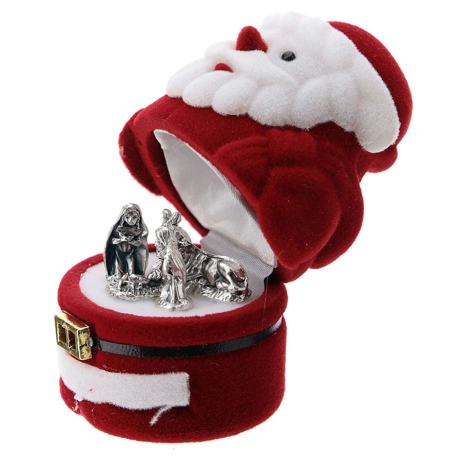 Santa Claus shaped velvet case with Nativity 3