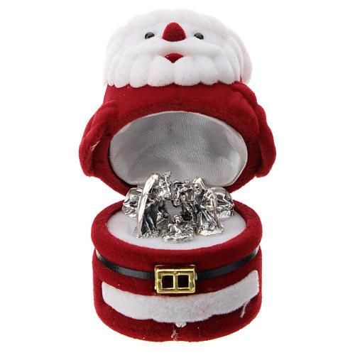 Cofanetto Babbo Natale con natività velluto 1