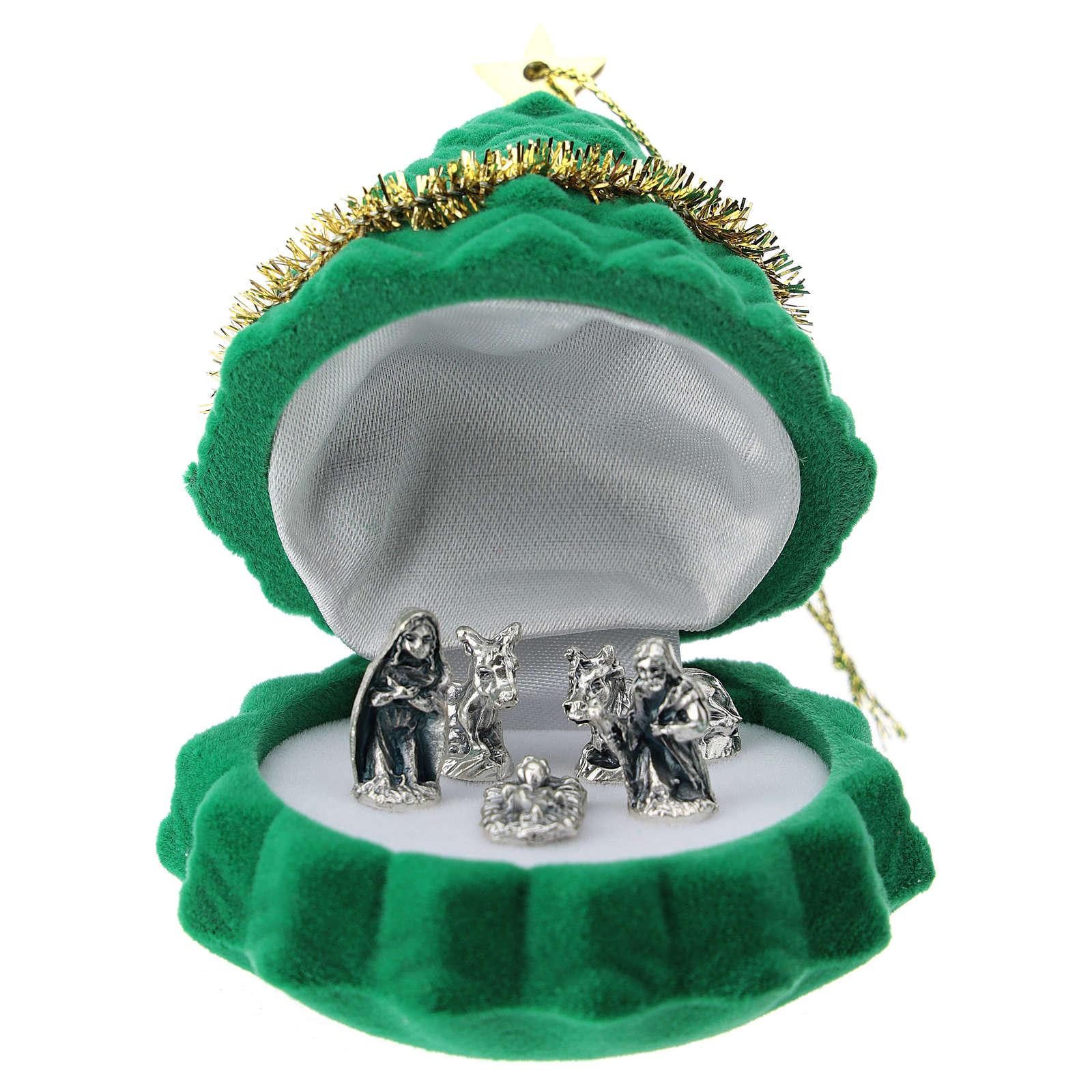 Cofre árbol de Navidad con natividad terciopelo verde 3