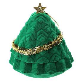 Cofre árbol de Navidad con natividad terciopelo verde s3