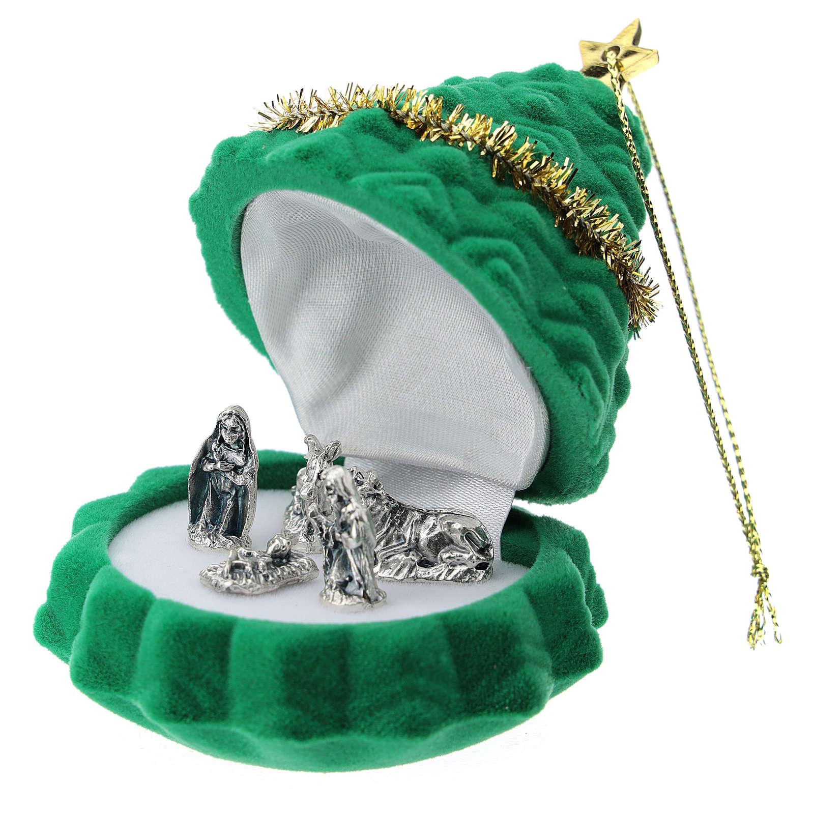 Cofanetto albero di Natale con natività velluto verde 3