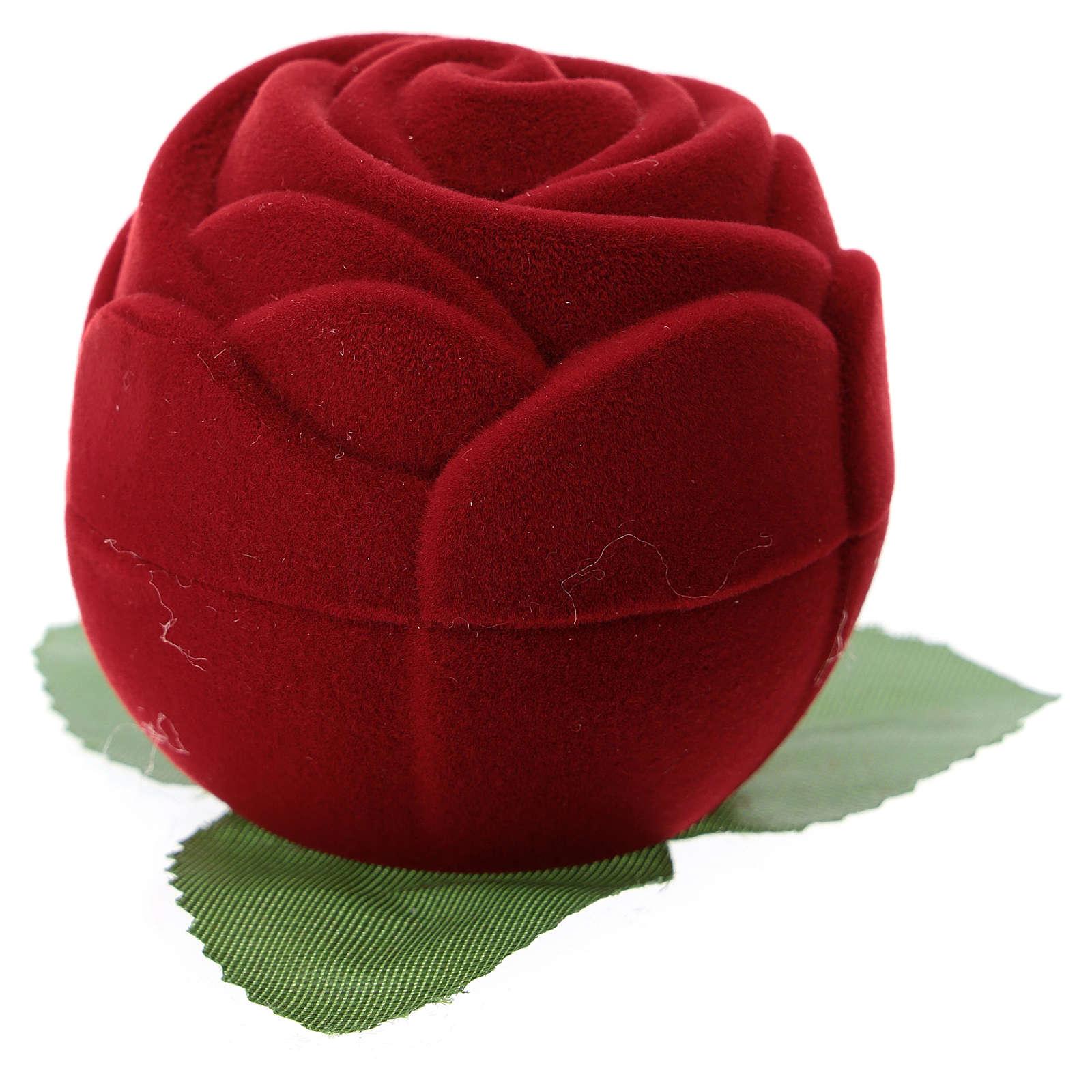 Cofanetto rosa rossa con natività velluto 3