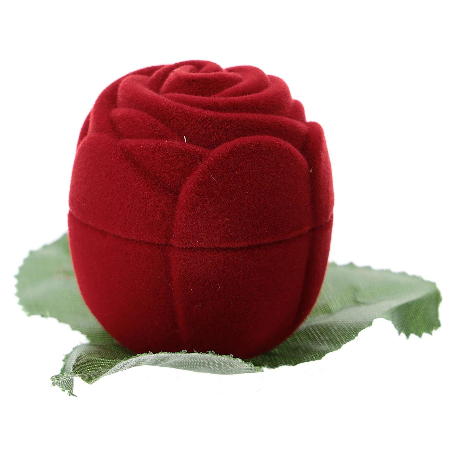 Cofanetto velluto rosellina rossa con natività 3