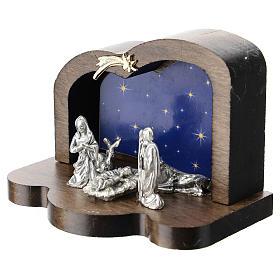 Nativité métal et cabane bois arrondi 5 cm s2