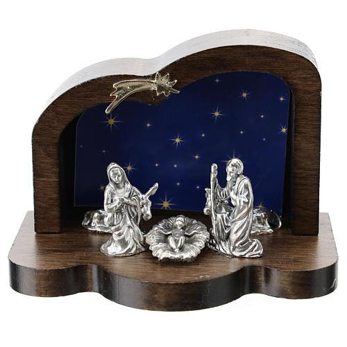 Nativité métal et cabane bois arrondi 5 cm 1