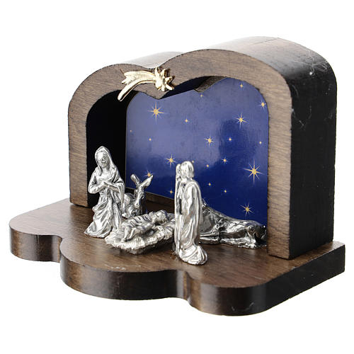 Nativité métal et cabane bois arrondi 5 cm 2