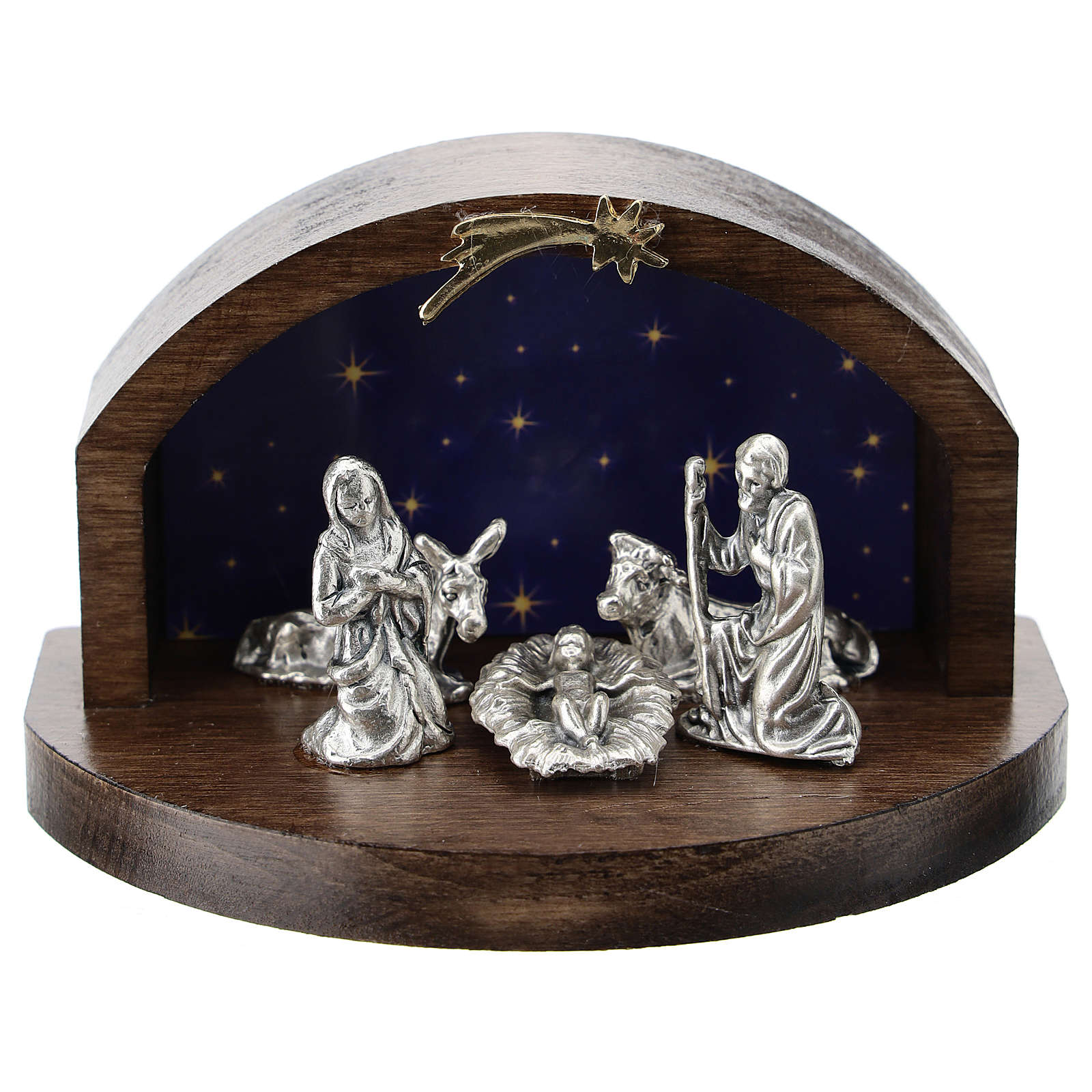 Nativity in metal with curved wood shack 5 cm 3
