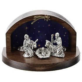 Nativity in metal with curved wood shack 5 cm s1