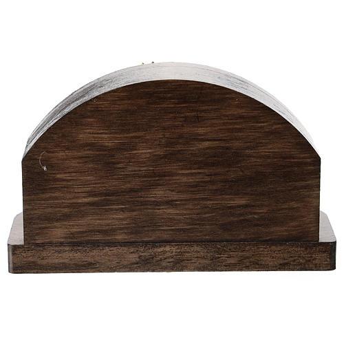 Capanna legno tondo con Natività 5 cm metallo 3