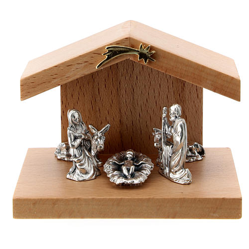 Nativity scene in metal with pear wood shack 5 cm 1