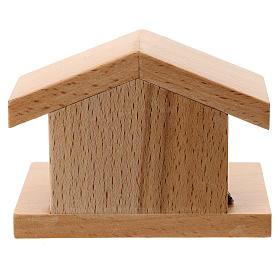 Capanna legno di pero con Natività metallo 5 cm s3