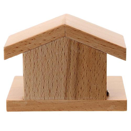 Capanna legno di pero con Natività metallo 5 cm 3