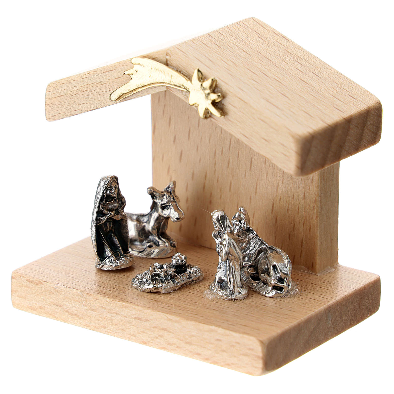 Nativity in metal with pear wood shack 5 cm 3