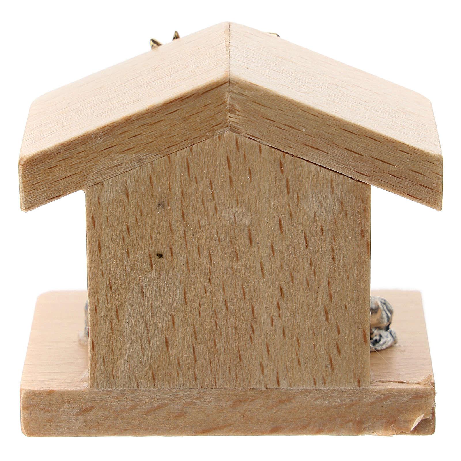 Nativité métal et cabane bois de poirier 5 cm 3