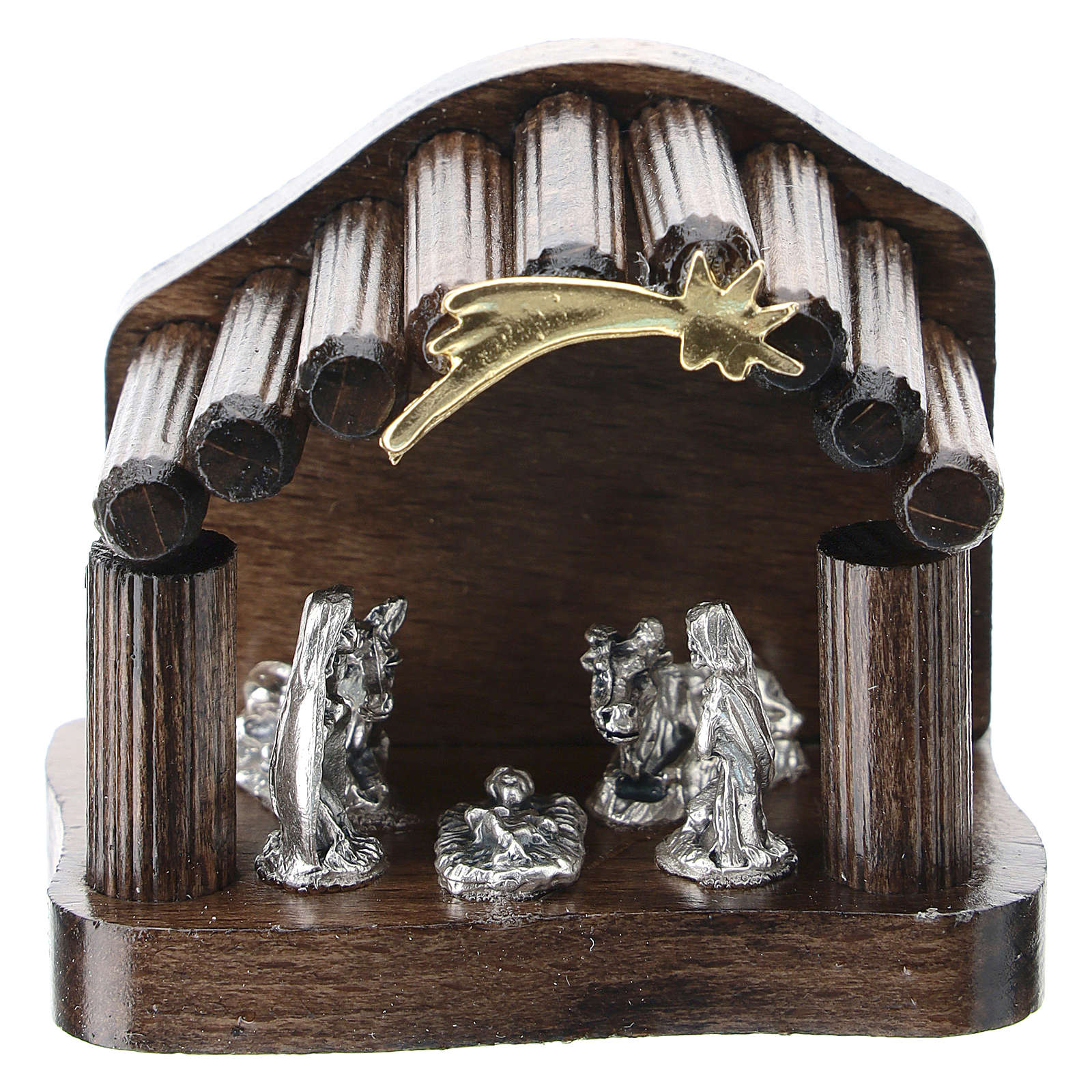 Nativity in metal with dark wood shack and star 5 cm 3