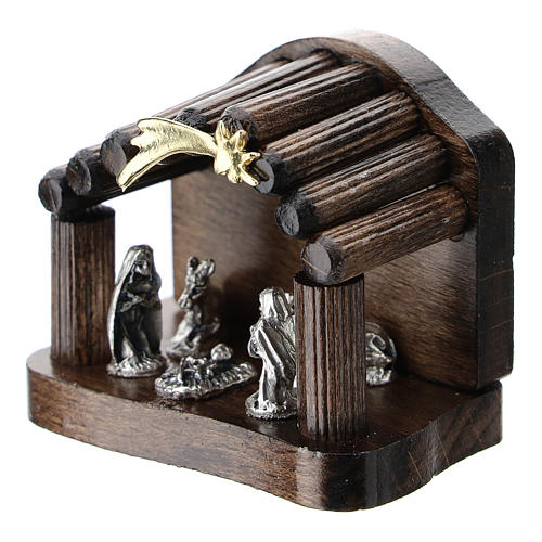 Nativity in metal with dark wood shack and star 5 cm 2