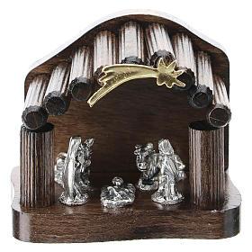 Nativité métal et cabane bois en rondins 5 cm s1