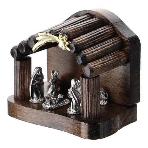 Nativité métal et cabane bois en rondins 5 cm 2