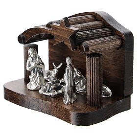 Nativity in metal with dark wood shack 5 cm s2