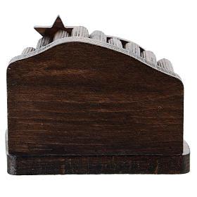 Nativity in metal with dark wood shack 5 cm s3