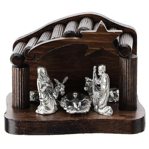 Cabaña escalones de madera y natividad metal 5 cm 1