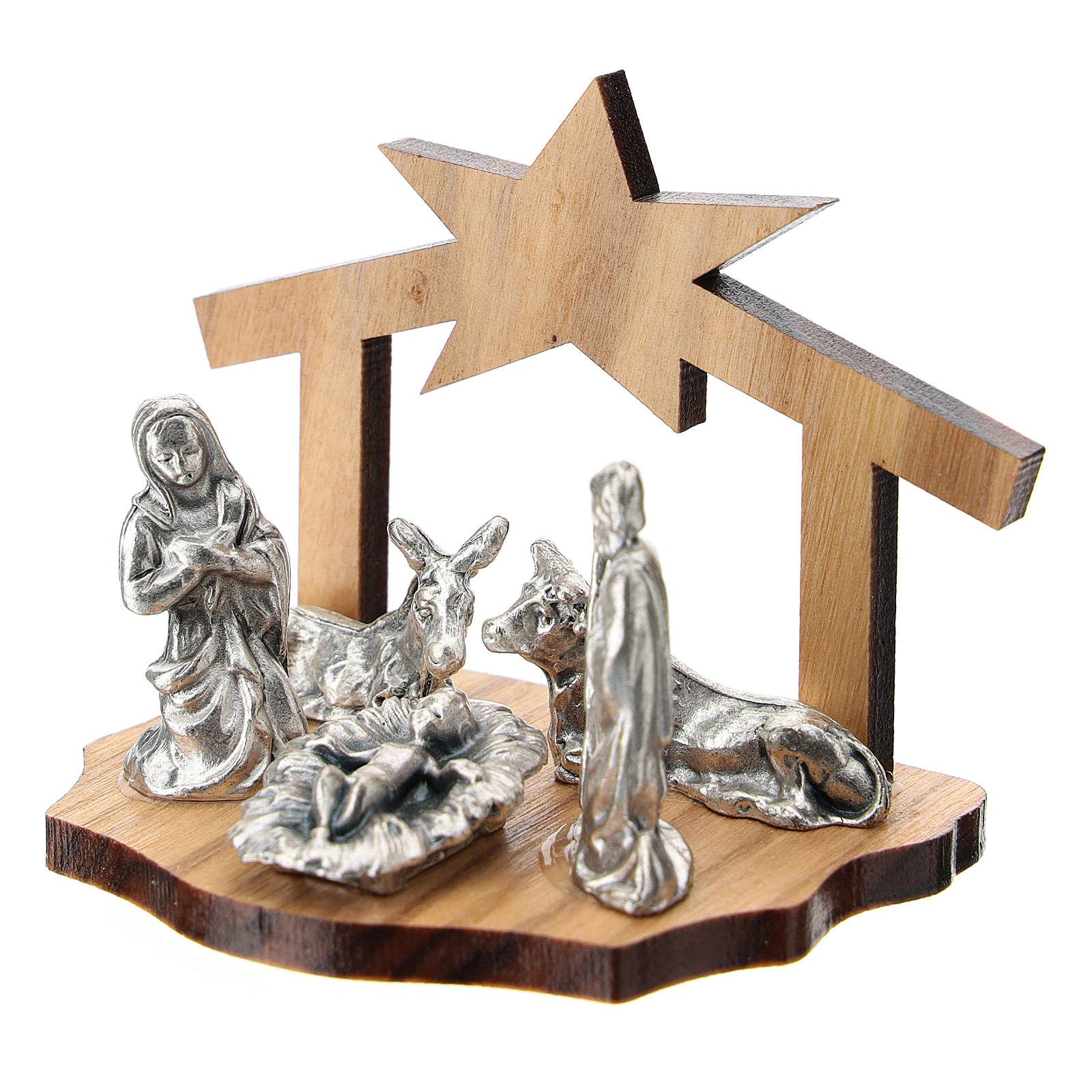 Natividad metal y cueva estilizada madera olivo 5 cm 3