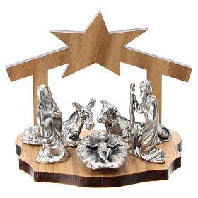 Natividad metal y cueva estilizada madera olivo 5 cm s1