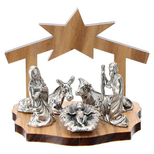 Natividad metal y cueva estilizada madera olivo 5 cm 1
